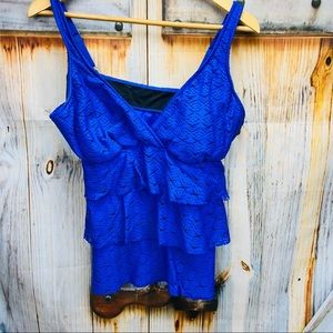 No Brand Ruffle Lacey Tankini Swim Top
